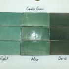Hand Cut Garden Green 3x6 Light Medium and Dark