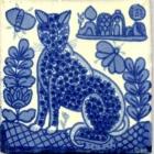 Provence 4x4in Mural Cat