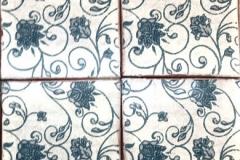 "Terre Cuite Vignes Florales Ciel Bleu Antique 6x6"""